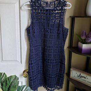 Navy Blue Semi-Sheer Crochet Lace Dress